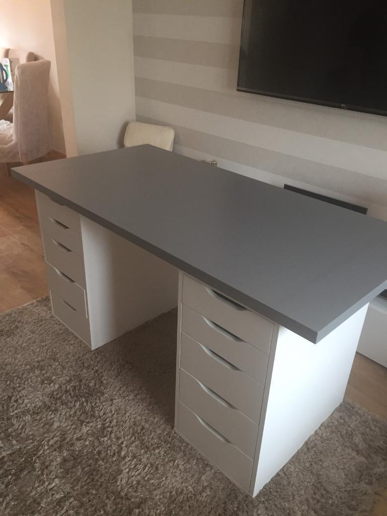 High Quality Ikea Grey Linnmon Table Top, 2 X Alex White Table Draws And Grey Skruvsta  Sival