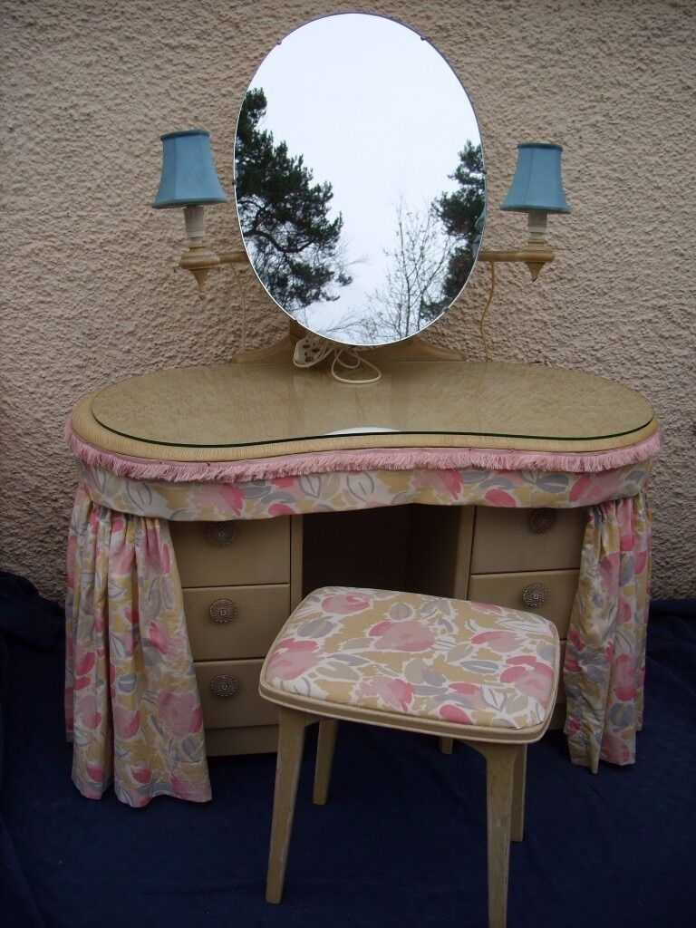 Vintage Kidney Shaped Mirrored Dressing Table With Curtains Plus Stool    Little Girl Dresser  1957