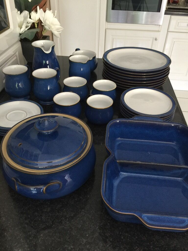 Denby Imperial Blue dinner service including plates cups mugs casserole and serving dish & Denby Imperial Blue dinner service including plates cups mugs ...