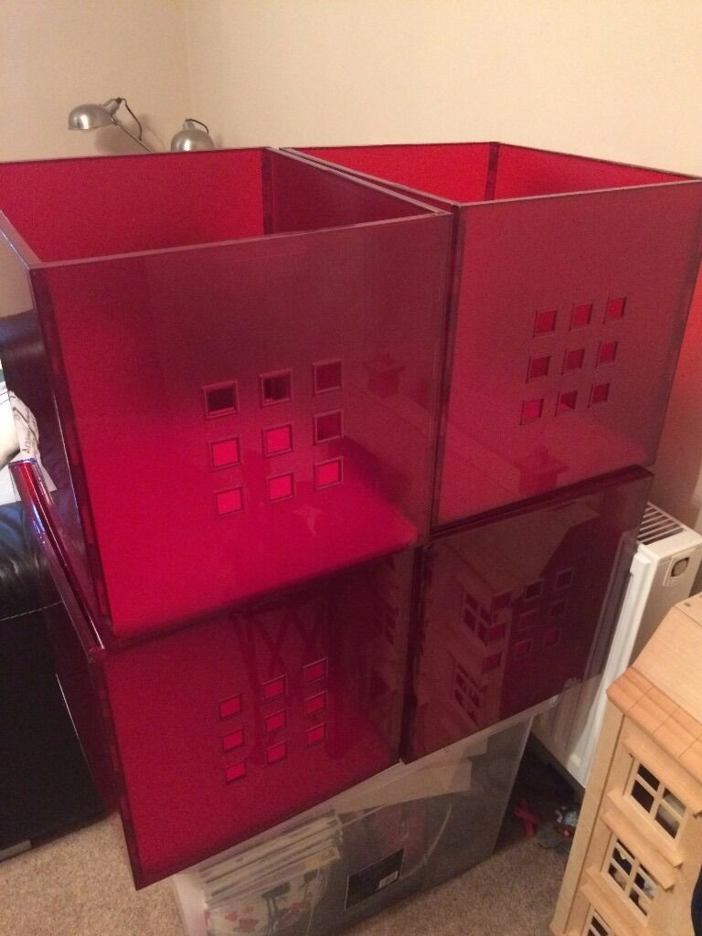 Red Storage Boxes (plastic) For IKEA KALLAX Unit X 4