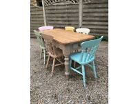 Vintage Farmhouse Table And Six Chairs
