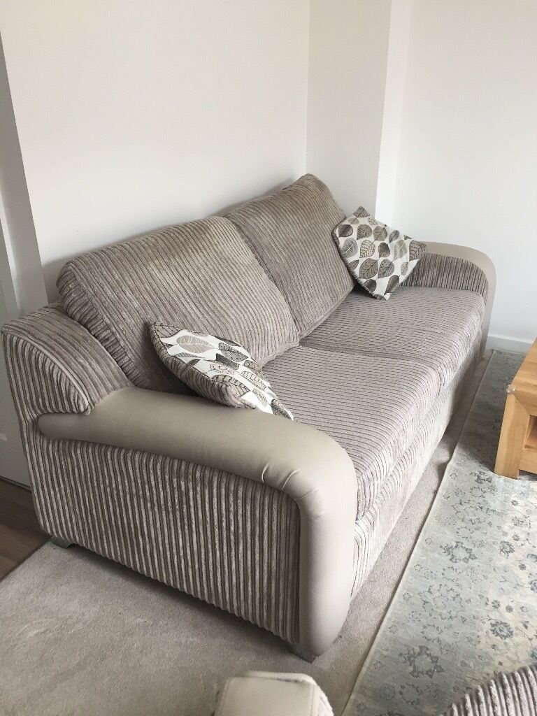 Grey/beige 3 Seater Sofabed And Large Round Sofa With Speakers