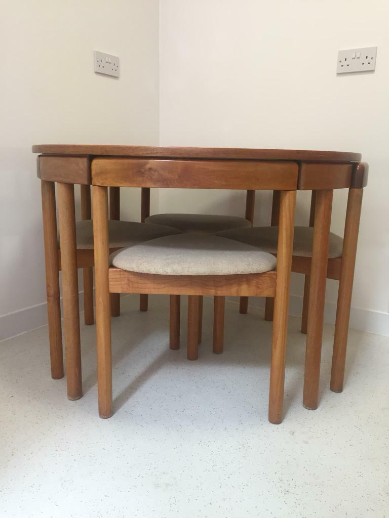 Teak Danish Mid Century Modern Hans Olsen Dining Table And Chairs