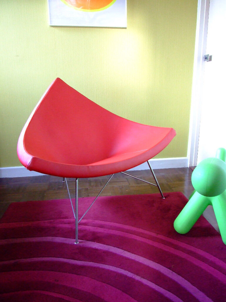 Modern Retro Vintage Designer Coconut Lounge Chair Mid Century Red White