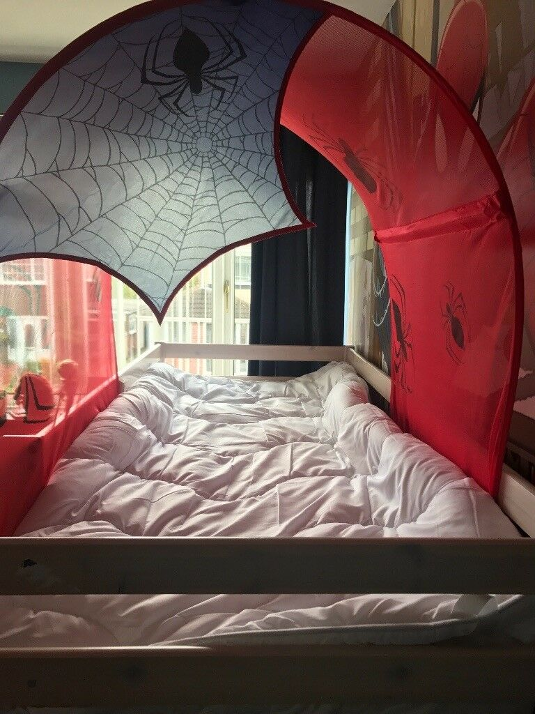 shorty mid sleeper bed with spider man canopy and tent
