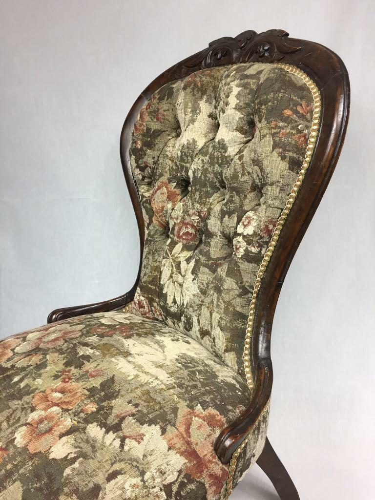 Antique Victorian Occasional Chair   Newly Upholstered. Image 1 Of 8
