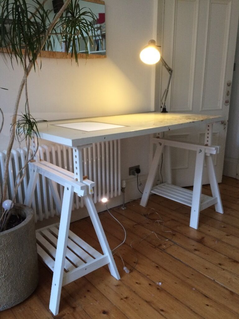 Delightful VIKA BLECKET Drawing Desk With Built In Light Box, Lights And Bar Stool  Included