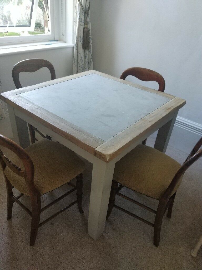 Oak And Grey Painted Dining Table And 4 Vintage Oak Chairs