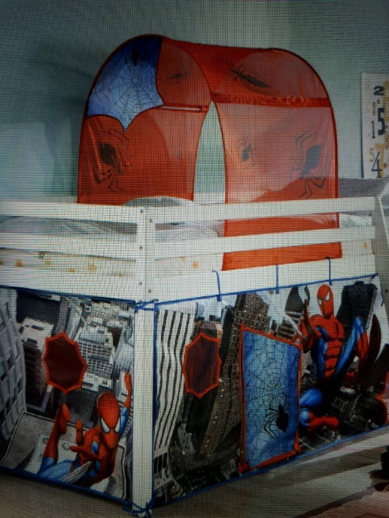 white wood shorty mid sleeper cabin bed with clean mattress u0026 spiderman tent