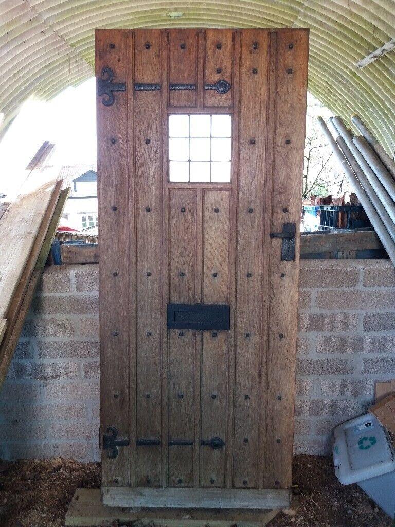 Antique/Vintage Period Reclaimed 1900 1910 1920s Solid Oak Panelled Glazed Front  Door   Tudor