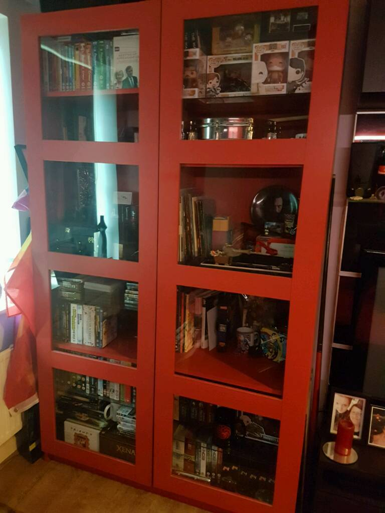 Large Red Ikea Display Cabinet