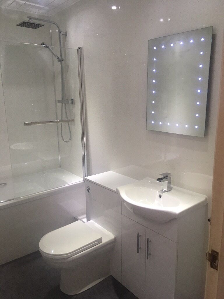 fully fitted bathroom suite including wet wall