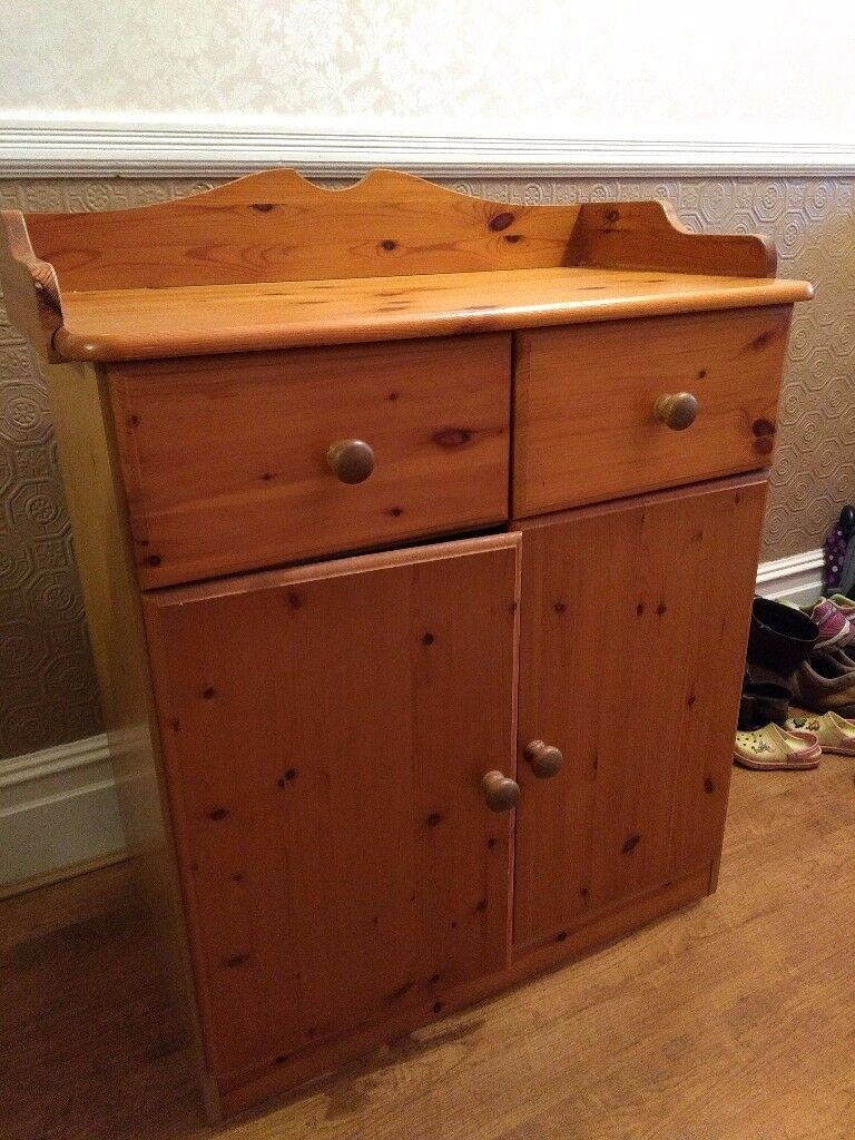 Charming Pine Baby Changing Unit With Drawers And Cupboard