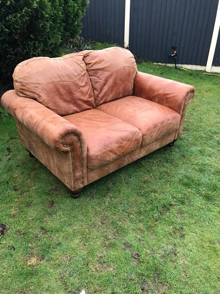 Like New Dfs Distressed Raw Hide Natural Leather Vintage Style Chesterfield  Sofa. Can Deliver