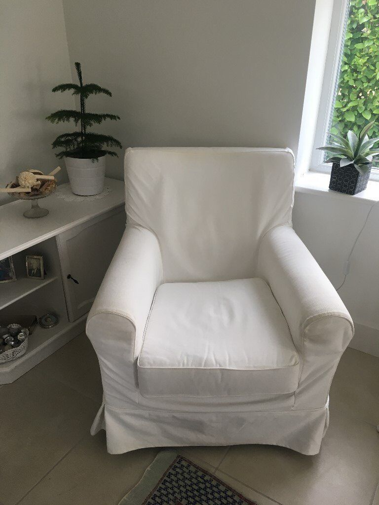 An Ektorp Jennylund chair from Ikea with white removable loose covers excellent condition & An Ektorp Jennylund chair from Ikea with white removable loose ...