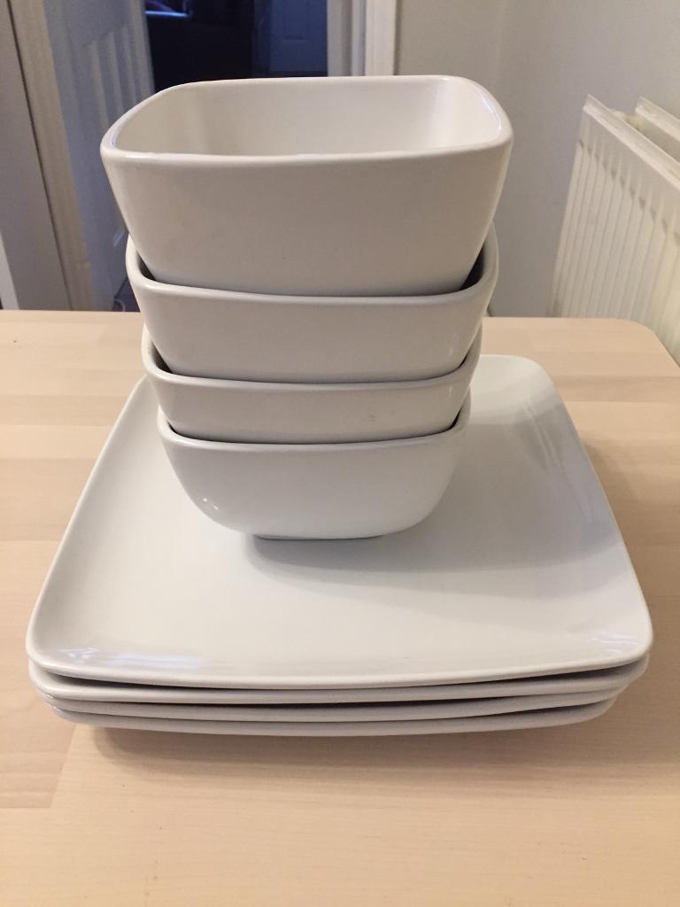 NEXT 4 large square plates 4 large square bowls. & NEXT 4 large square plates 4 large square bowls. | in Hinckley ...