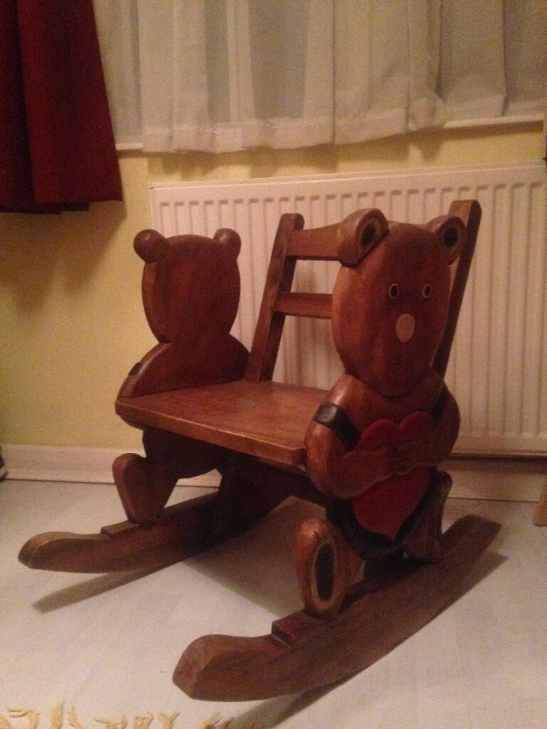 Childrenu0027s Antique Pine Rocking Chair U0026 Hand Carved Bear RRP £120