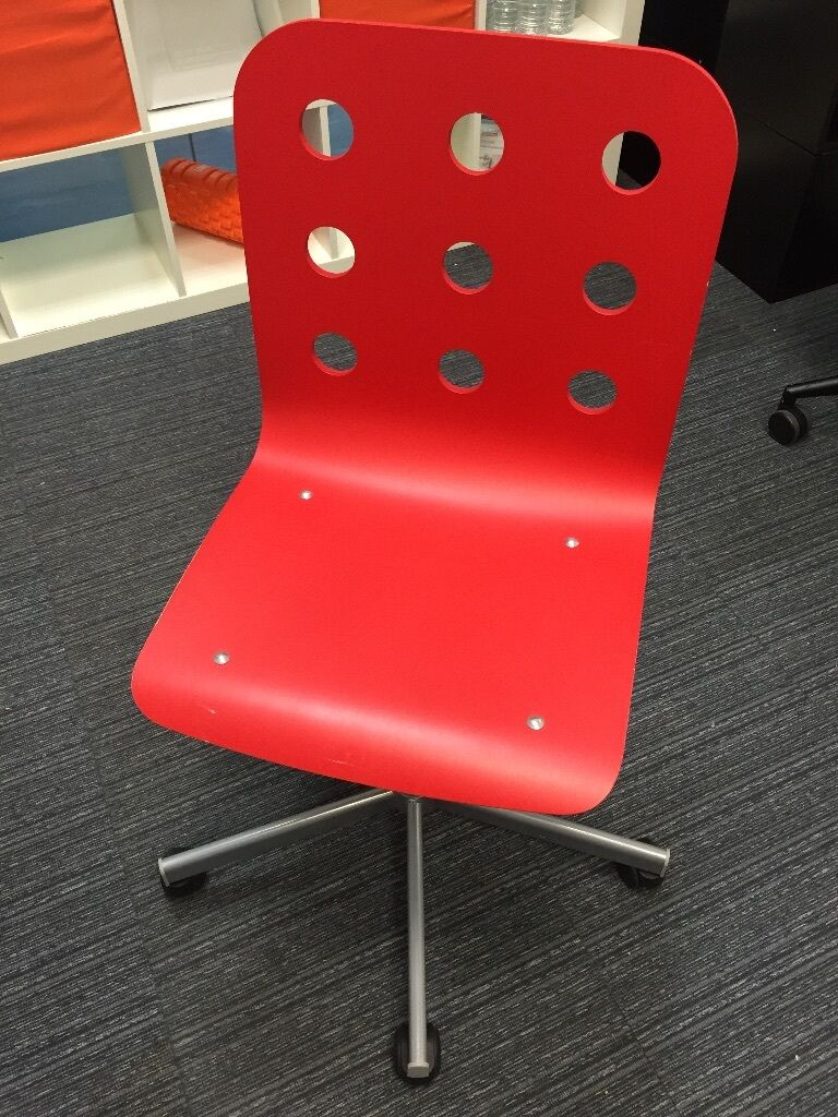 Good Ikea Jules Office Adult Swivel Desk Chair Red Colour Home Office.
