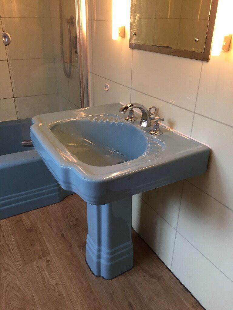Vintage American Standard Art Deco Sink And Pedestal, Blue
