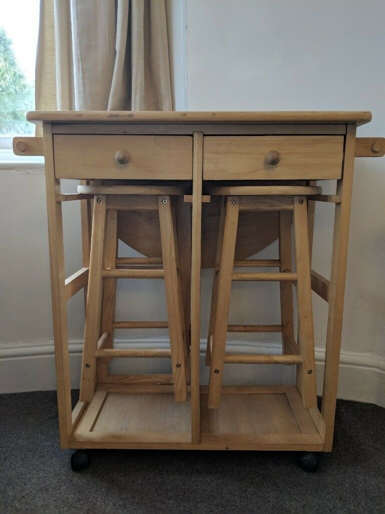 Solid Pine Kitchen Trolley/breakfast Bar With Folding Table Panel And 2  Chairs