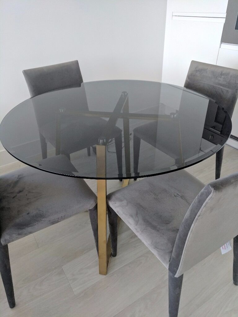 Brass And Smoked Glass Dining Table (MADE. Com Haku) Part 46