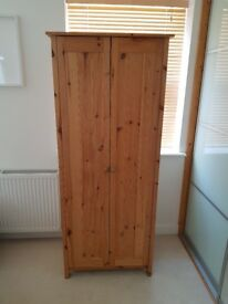 Solid Pine Wardrobe With Hanging Rail
