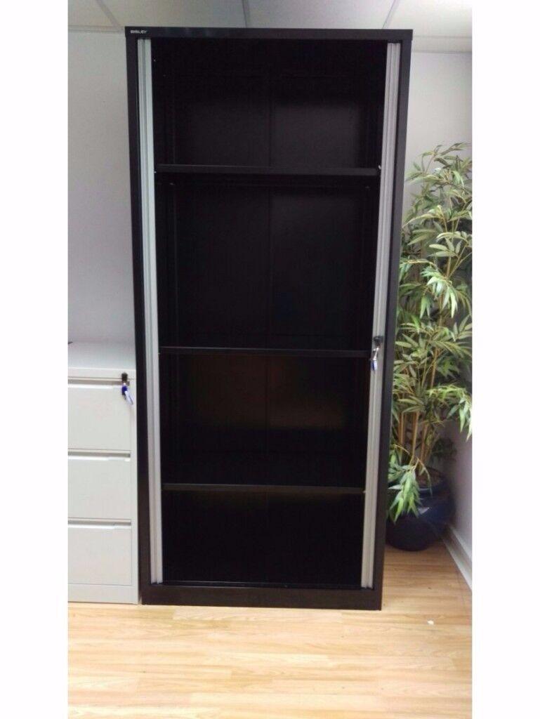 BISLEY EURO TAMBOUR SYSTEMFILE ET410 CUPBOARD BLACK NEW 4 SHELVES 2200H X 1000W 470D BICESTER