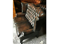 Antique brown leather 2 seater highback Chesterfield sofa...