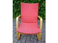 Red bentwood frame leisure chair/ armchair ideal for studio, conservatory, sitting room etc