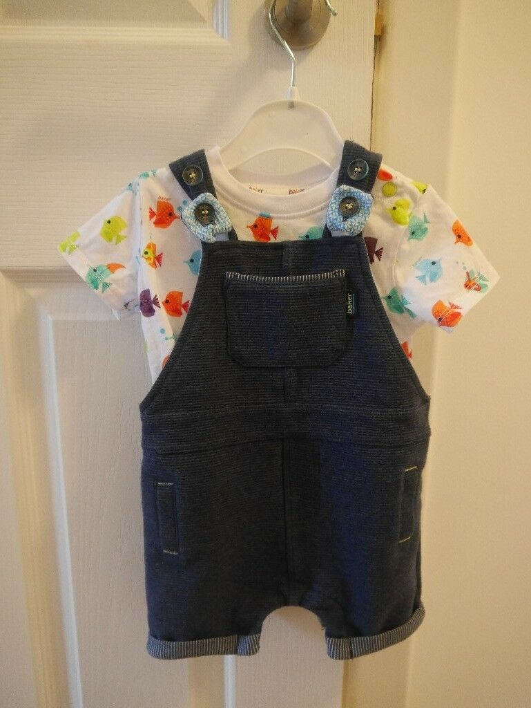 ted baker 2 piece set dungarees with fish print top 3-6 month boy