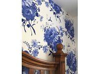 Stunning Cobalt Blue Floral wallpaper