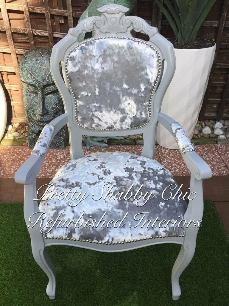 Silver Shabby Chic Bedroom Furniture Italian Rococo French Louis Silver Grey Crushed Velvet Carver