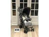 BRAND NEW IN BOX LIGHTWEIGHT PUSHCHAIR PRAM BUGGY WITH CUP HOLDER AND RAINCOVER IN GREY