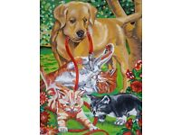 Hand painted acrylic picture - DOG AND CATS