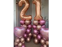 Balloon columns, centrepieces, helium filled/air filled numbers (halloween balloons available)