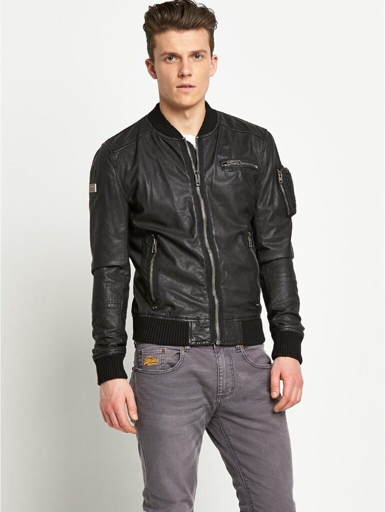 Leather jacket superdry - Superdry Leather Jacket Brand New With Tags Hero Marksman Xl