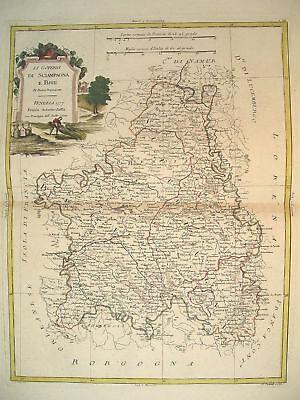 1776 Genuine Antique Hand Colored Map S.W. France.Elegant Cartouche. Zatta