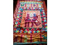 VINTAGE Indian Throw Wall Hanging Bedspread Mat Patchwork Handmade: Authentic Design Cotton 54 x 83