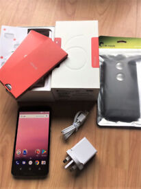 White Cloud Motorola Nexus 6 32GB in box with charger and manuals + FREE heavy duty case