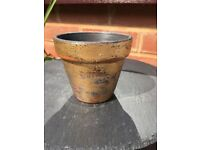 Shabby chic gold plant pot, small, hand-decorated