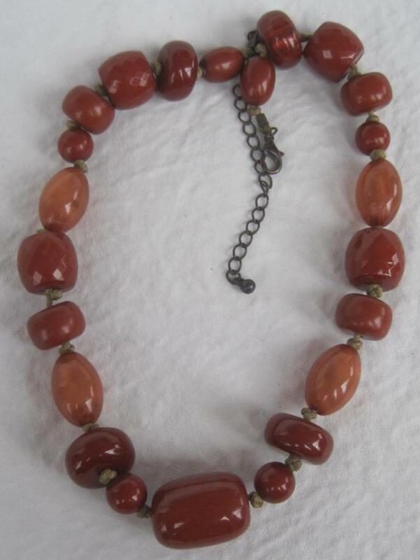 "VTG Butterscotch Wood Amber Oval Round Barrel Bead Necklace 15"" Hand Knotted"