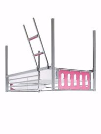 Mid-sleeper bed pink