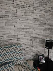 One roll fresco ledgestone white brick effect wallpaper