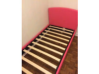RRP£110 BRIGHT PINK FAUX LEATHER SINGLE BED&delivery available, EXCELLENT CONDITION