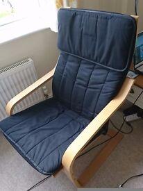 Ikea fabric armchair and foot stool