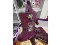 Designer Boots - Irregular Choice Miaow Lavender Boots