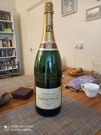 Large Laurent-Perrier Empty Display Champagne Bottle with Engraved Anniversary Message