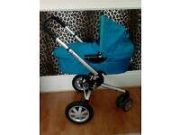 Blue turquoise Quinny pram buggy stroller carry cot