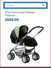 Reduced* bargain Silver cross linear travel system pistachio