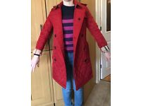 Ladies Burberry red padded trench coat (size 8)